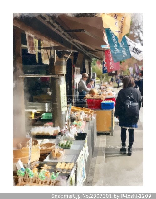 三鷹、深大寺のお土産屋通りを散歩する風景を絵画にしてみました。の写真・画像素材[2307301]