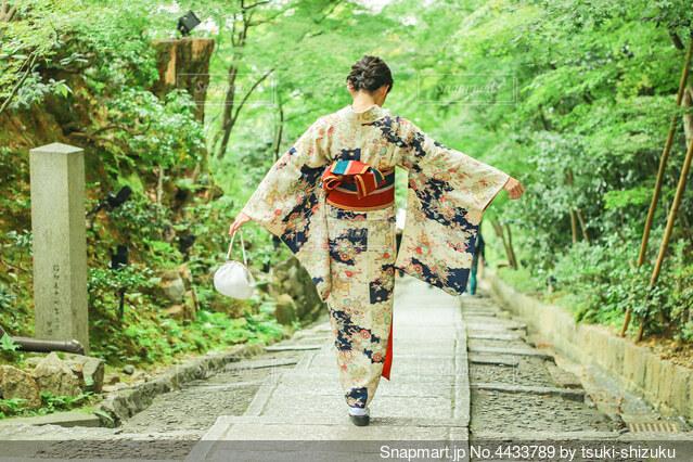 着物を着て京都お寺めぐりの写真・画像素材[4433789]