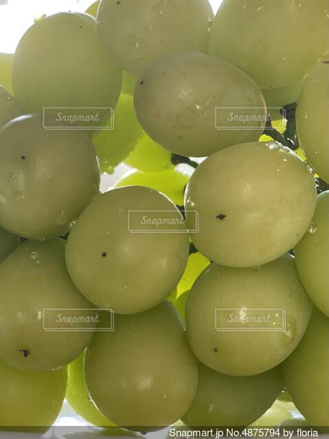 テーブルの上に座っている果物の束の写真・画像素材[4875794]