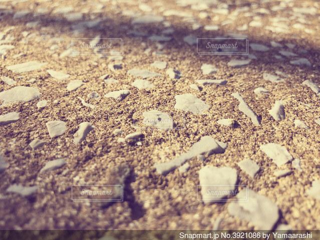 石が混ざったコンクリート地面の写真・画像素材[3921086]