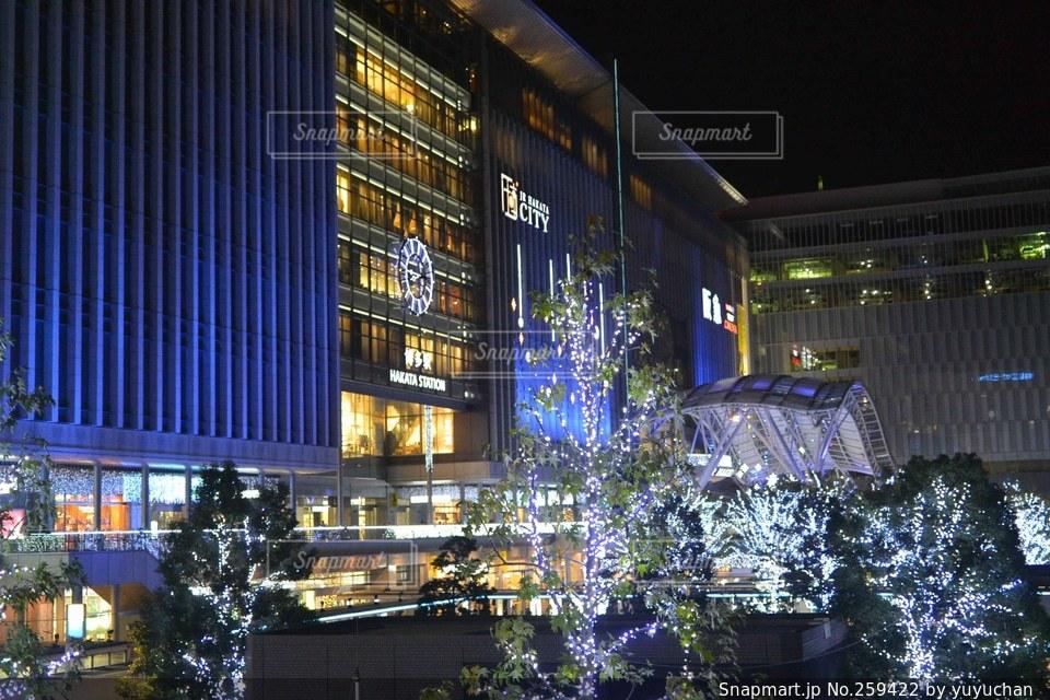 風景,建物,冬,夜,駅,イルミネーション,福岡,博多