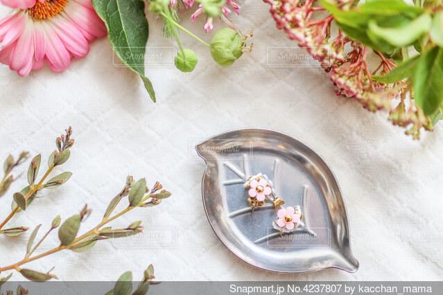 花に囲まれたお花のかたちをしたピアスのアクセサリーの写真・画像素材[4237807]