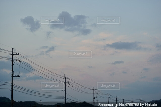 電線のシルエットの写真・画像素材[4769758]