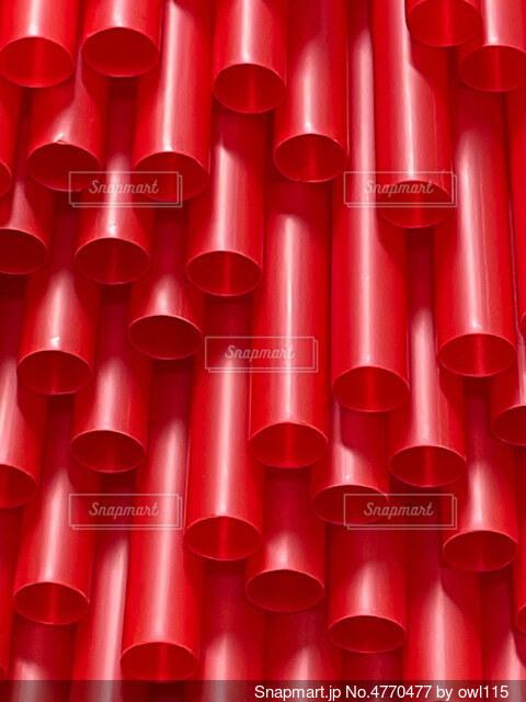 赤いストロークローズアップの写真・画像素材[4770477]