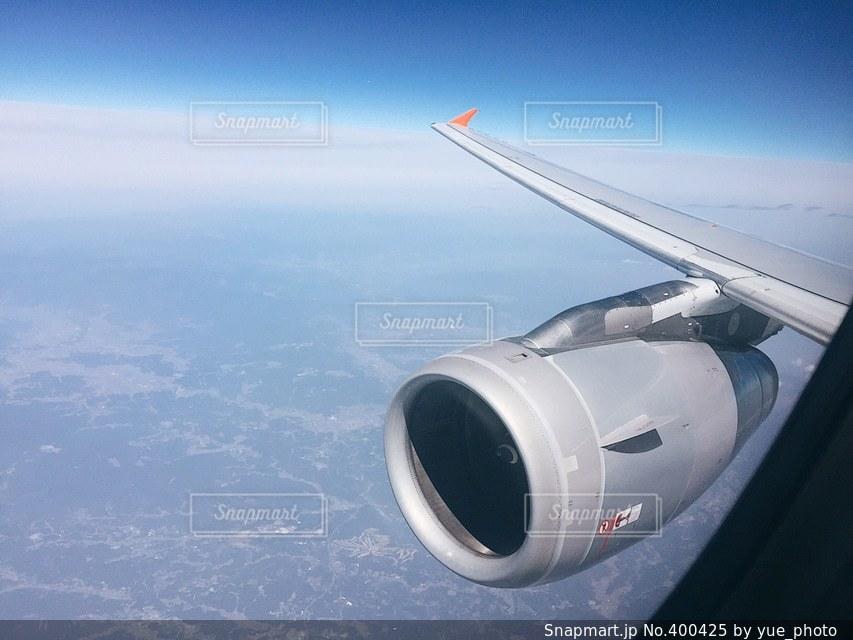 空,絶景,青,飛行機,スマホ,旅行,スマートフォン,地平線,地球