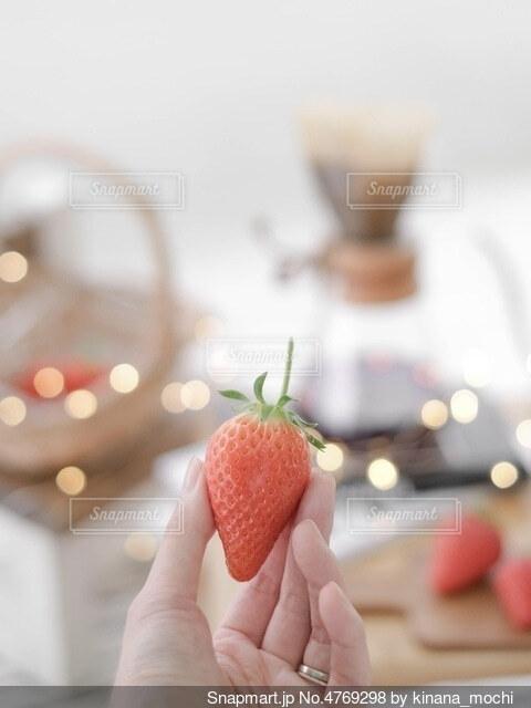 採れたてのイチゴをおやつにの写真・画像素材[4769298]