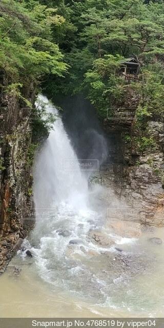 水の上の大きな滝の写真・画像素材[4768519]