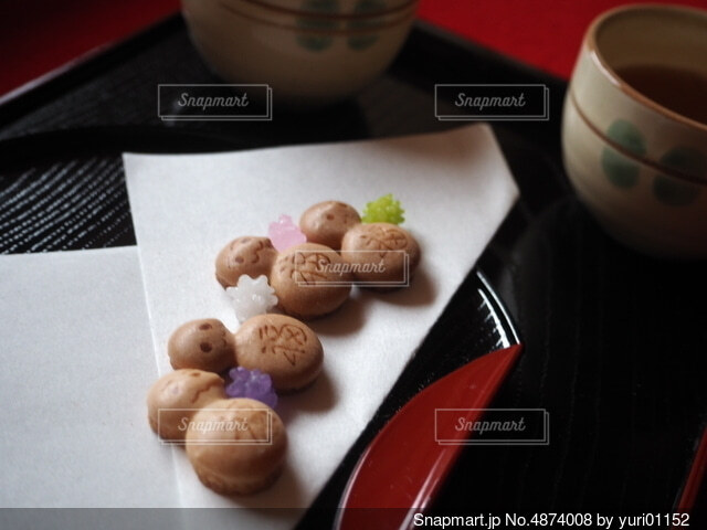 京都でのお茶菓子の写真・画像素材[4874008]