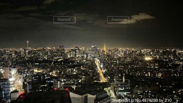 現在の日本の状況を忘れさせてくれる、煌びやかに光る夜の東京の写真・画像素材[4874298]