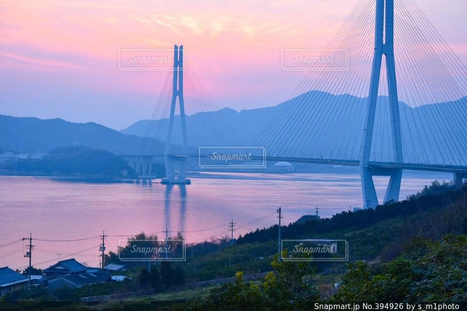 海,空,橋,ピンク,広島,しまなみ海道,愛媛,しまなみ
