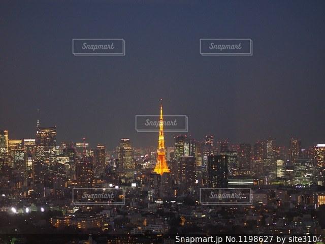 東京タワーの夜景の写真・画像素材[1198627]