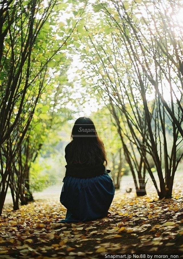 木の隣に立っている人の写真・画像素材[88]