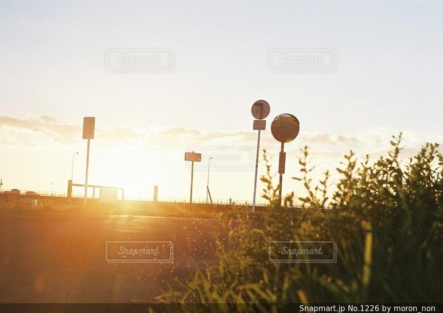 芝生のフィールドに沈む夕日の写真・画像素材[1226]