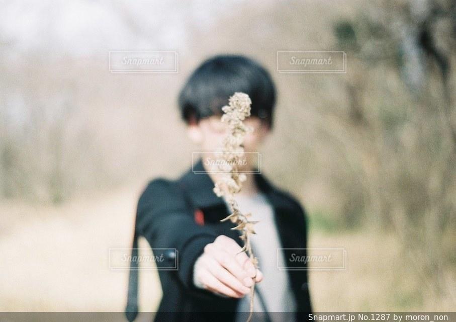 草の中に立っている人の写真・画像素材[1287]