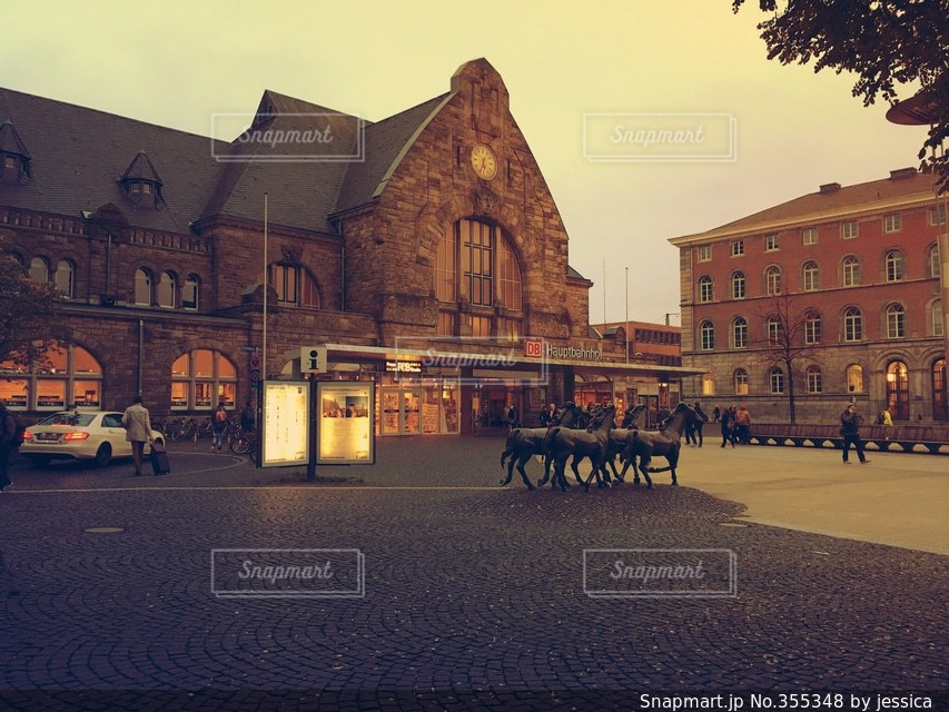 風景,建物,街角,駅,ヨーロッパ,街,石畳,ドイツ,欧州