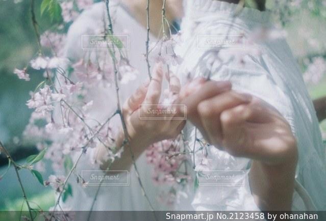 花を抱えている人の写真・画像素材[2123458]