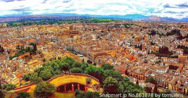 アルハンブラ宮殿からのパノラマの写真・画像素材[863878]