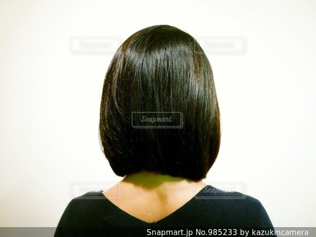 ボブヘアの女性の後ろ姿の写真・画像素材[985233]