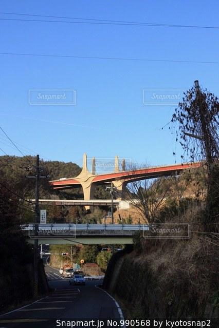 新名神高速道路の近江大鳥橋の橋梁の写真・画像素材[990568]