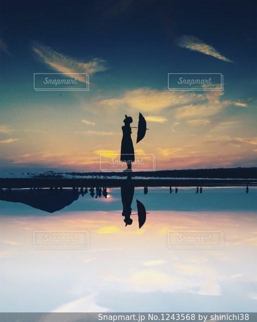 水の体に沈む夕日の写真・画像素材[1243568]