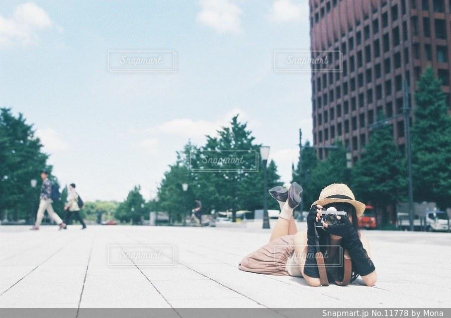 カメラ女子の写真・画像素材[11778]