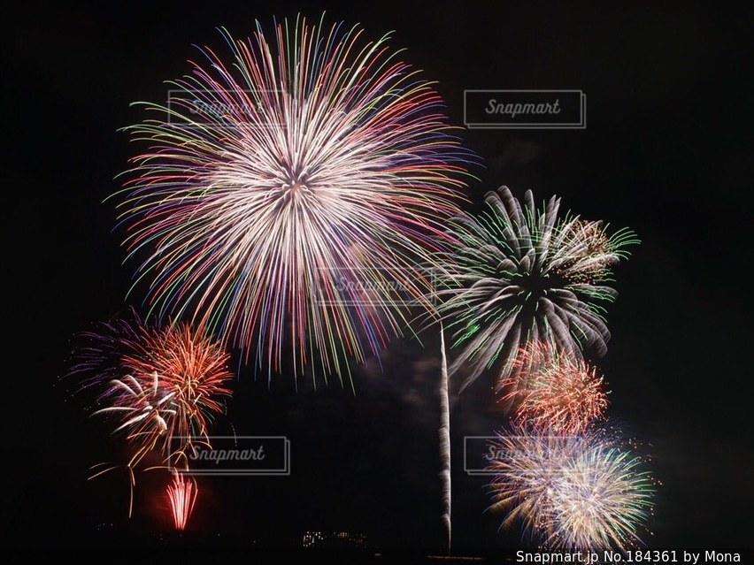 夜空に打ち上がる花火の写真・画像素材[184361]