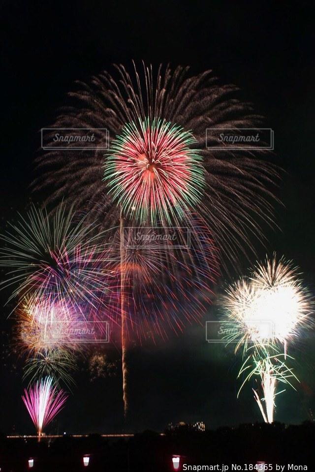 夜空に打ち上がる花火の写真・画像素材[184365]