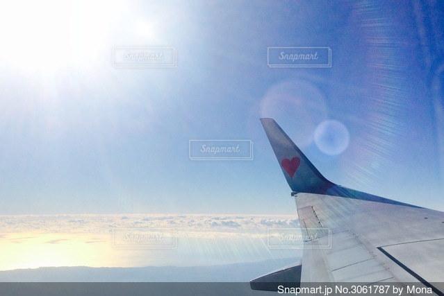 空中を飛んでいる飛行機の写真・画像素材[3061787]