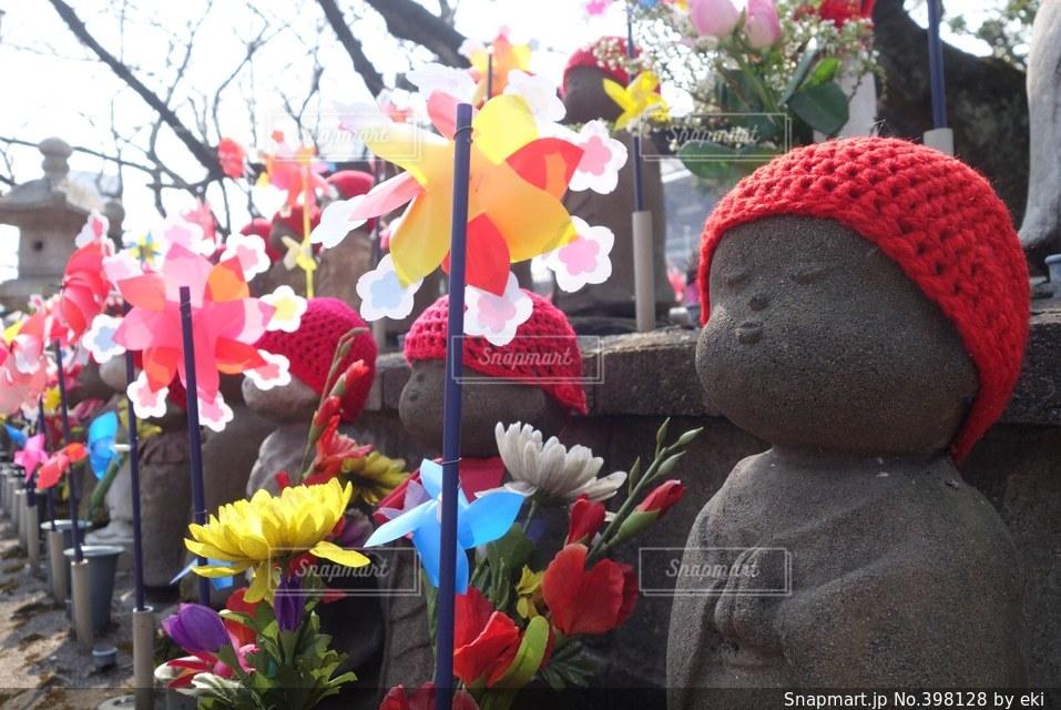 花,冬,東京,赤,帽子,風車,観光,寺,地蔵,お地蔵さん,赤帽子