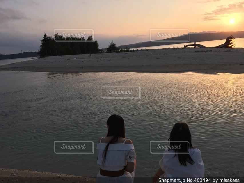 風景,春,夕焼け,沖縄,背景,大学生,夕陽