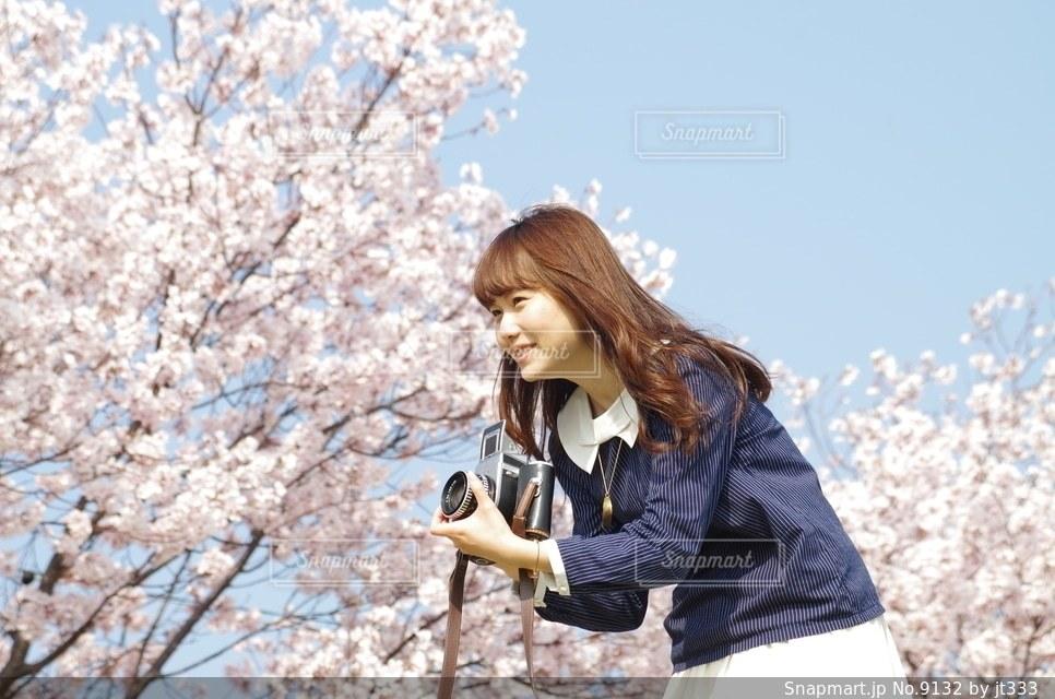 女性,1人,自然,風景,花,カメラ,桜,カメラ女子,人物の写真素材