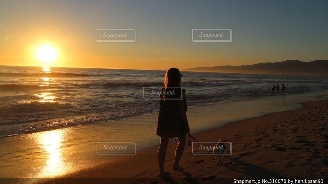 海,夕日,ビーチ,散歩,アメリカ,旅行,America,ロサンゼルス,beach,sunset,sea,カリフォルニア,California,ocean,Los Angeles,US