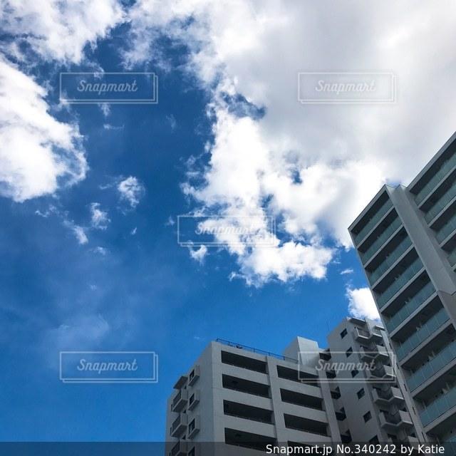 空,白,雲,晴れ,青空,晴天,見上げる,マンション,五月晴れ