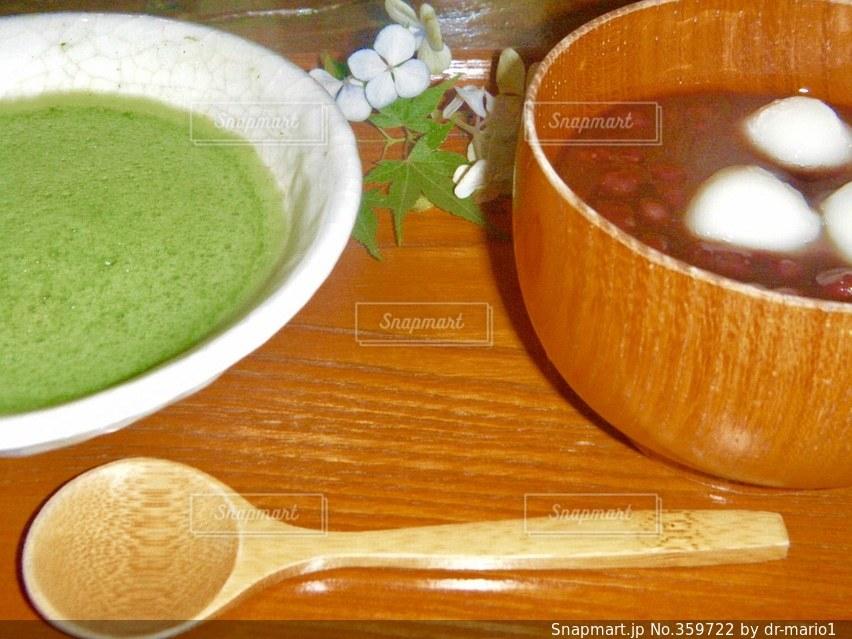 飲み物,緑,白,抹茶,スプーン,お茶,テーブルフォト,グリーン,おしるこ,お汁粉,ちゃいろ