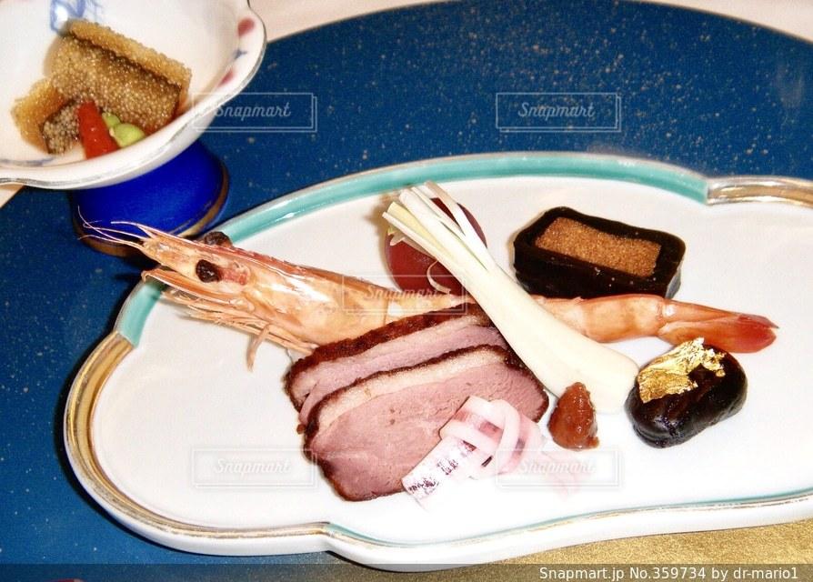 食べ物,赤,白,皿,ホテル,ハム,料理,テーブルフォト,エビ,レッド,ホワイト,海老,えび,数の子,昆布,こんぶ