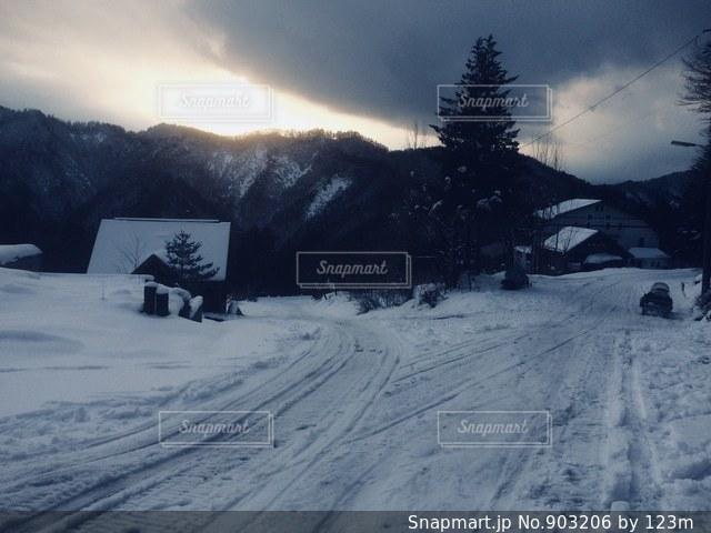 雪国の夕陽の写真・画像素材[903206]
