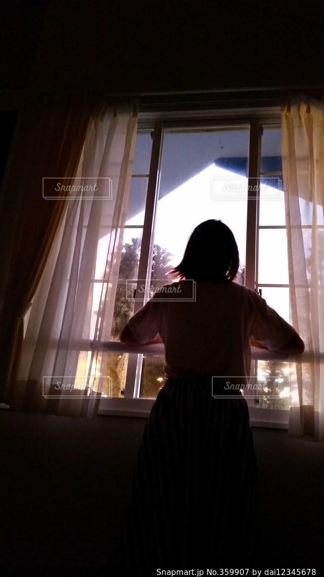 女性,夏,島,窓,影,朝