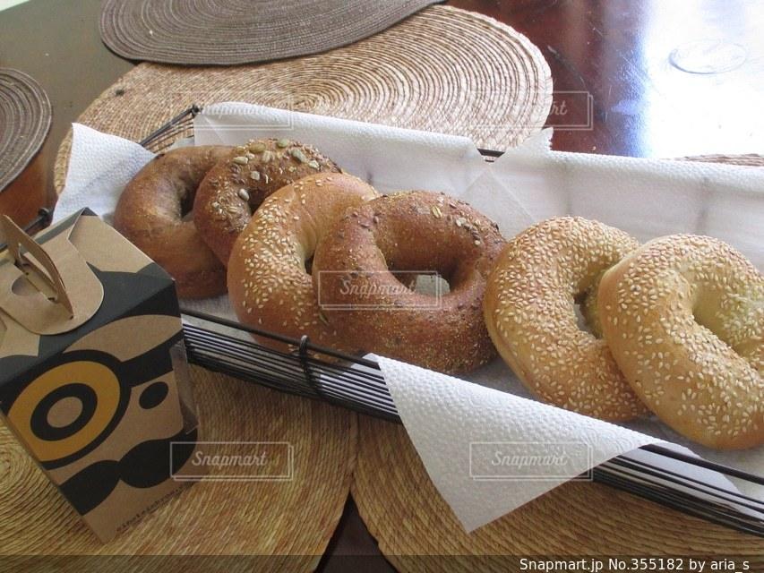 食べ物,朝食,アメリカ,パン,ベーグル,テーブルフォト