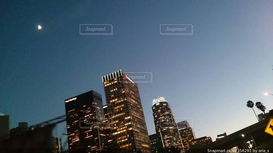 風景,夜景,ビル,海外,夕暮れ,アメリカ,ロサンゼルス,カリフォルニア