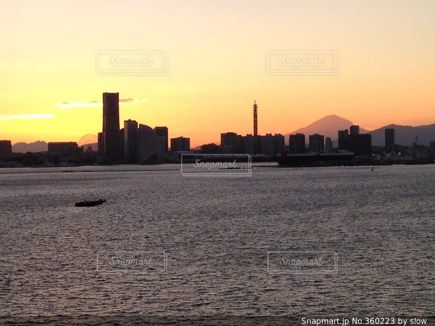 海,富士山,きれい,夕焼け,景色,みなとみらい,大黒ふ頭