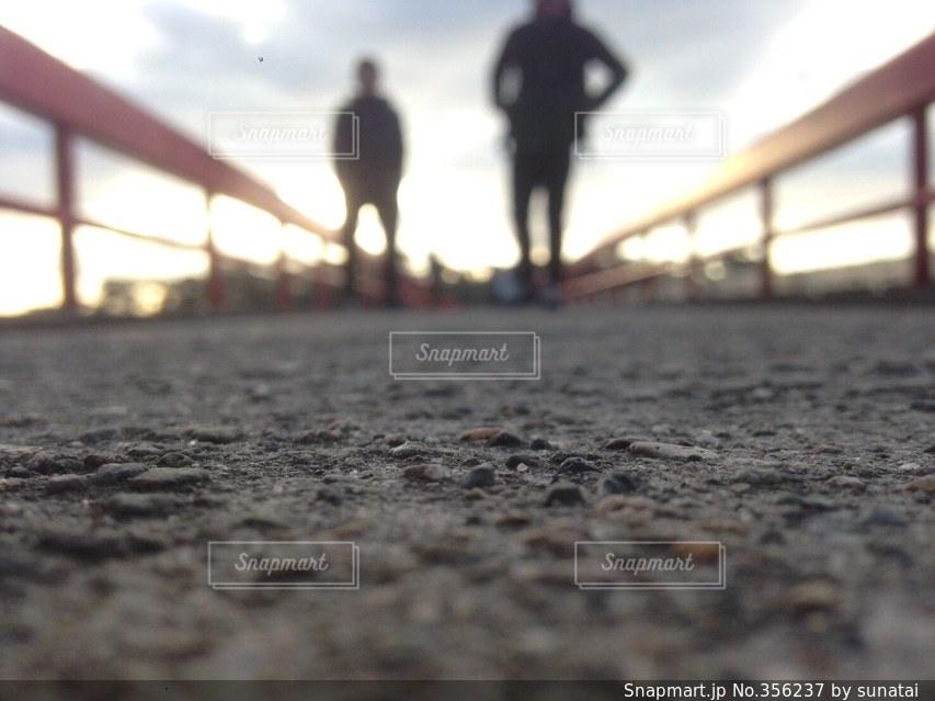 2人,ぼかし,朝,松島,橋の上