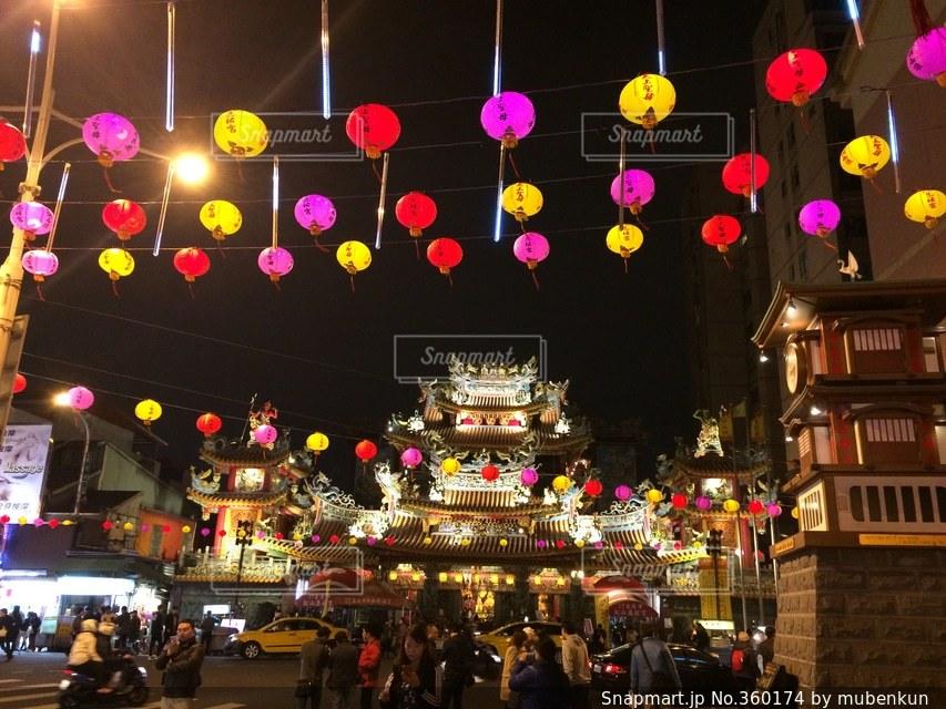 夜,アジア,提灯,旅行,台湾,台北,海外旅行