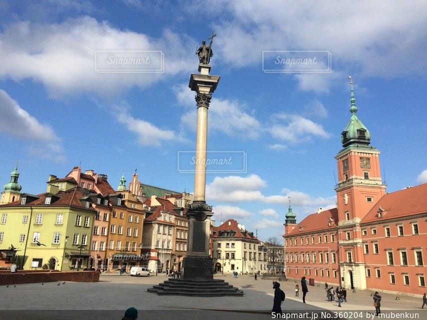 街並み,世界遺産,ヨーロッパ,旅行,ポーランド,快晴,海外旅行,ワルシャワ,中欧,王宮前広場