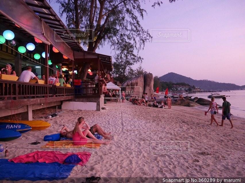 ビーチ,夕焼け,夕方,タイ