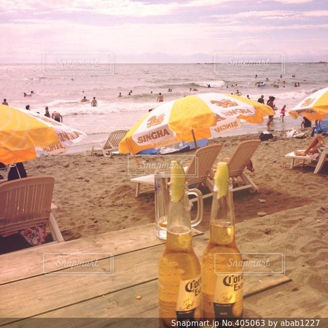 飲み物,海,夏,ビール,夏休み,バカンス,サンセット