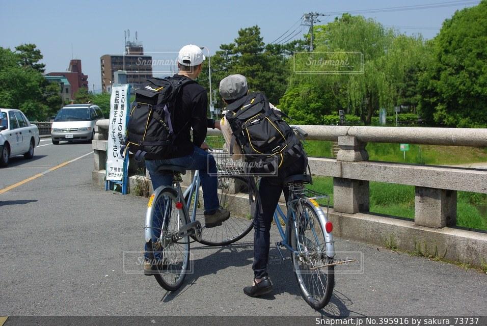 自転車,仲良し,旅,夏休み,地図,ツーリング,想い出,アクティブ,ゴール,スタート,未知,ツーショット