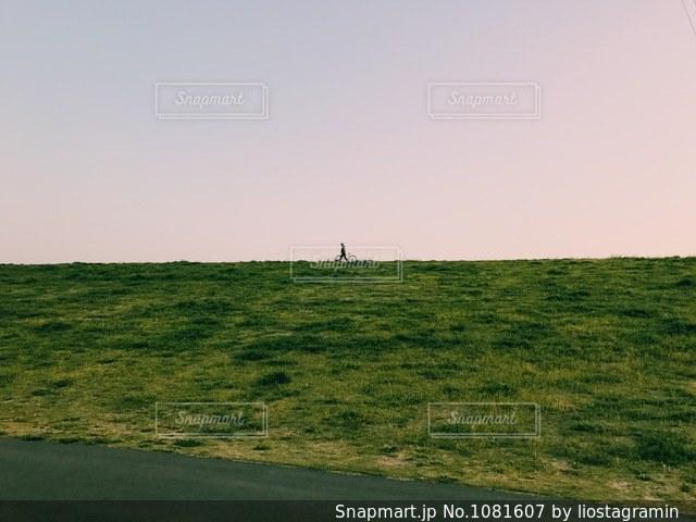 緑豊かな土手で自転車を押す人の写真・画像素材[1081607]