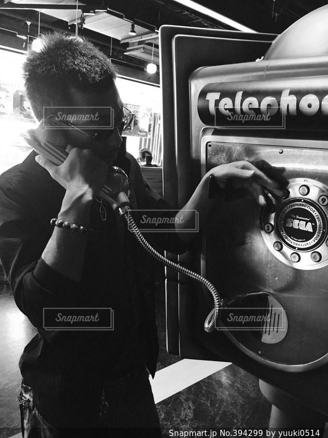 男,古い,人,ゲーム,電話