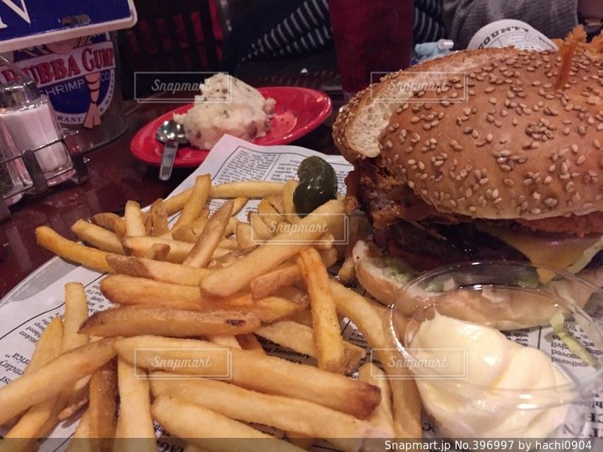 ハンバーガー,美味しそう,洋食,美味しい,ポテト,ファーストフード,ジャンクフード,ババガンプ