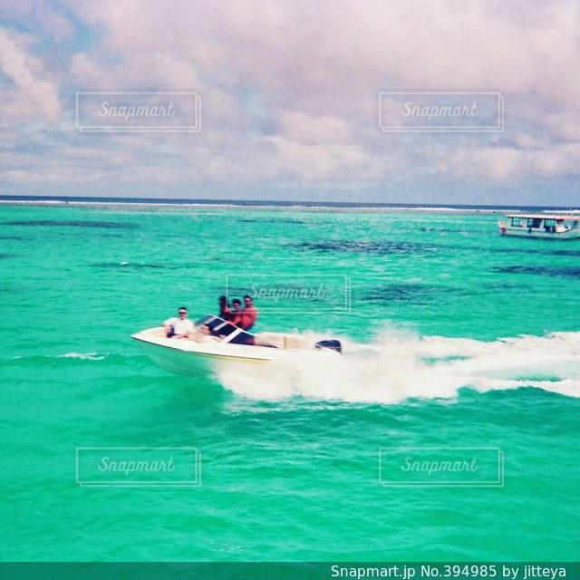 海,ビーチ,サイパン,エメラルドグリーン,モーターボート